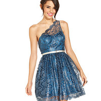 City Studios Juniors Dress, One-Shoulder Belted Metallic Lace A-Line - Juniors Homecoming Dresses - Macy's