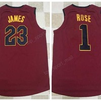 2017 2018 New 23 LeBron James Jersey Men Red Color Team Basketball 1 Derrick Rose Jerseys Sports High Quality Free Shipping