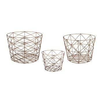 Nested Geometric Copper Baskets Copper