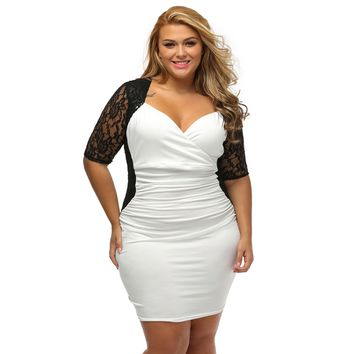 Womens Plus Size Crimped Dress Deep V Neck Bodycon Wrap Dresses for Wedding Dance Party