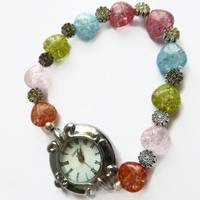 Flower watch band, heart gems flower beads stretch bracelet watch, Valentines Day gift, UK shop
