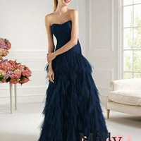 pictures of Strapless a line v-neck dark navy tulle 2013 newest Prom Dresses PRSP00127