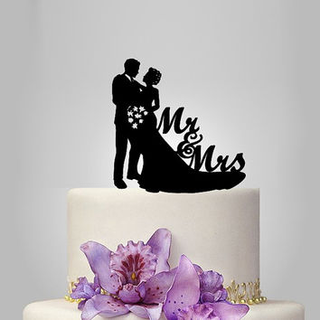 acrylic wedding cake topper Silhouette, bride and groom silhouette wedding cake topper,mr and mrs wedding cake topper, unique cake topper