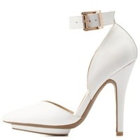 White Ankle Strap & Pointy Toe Heels by Charlotte Russe