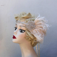 Ivory White Feather Headband, Bridal Head Piece, 1920's Flapper, Great Gatsby, Crystal Head Dress, Batcakes Couture