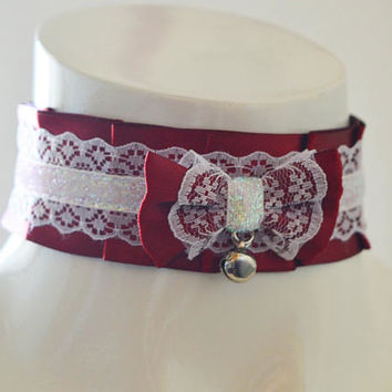 Kitten play collar - Crimson dream - nekollars dark red and white petplay ddlg sexy choker with bell and lace - kittenplay neko costume