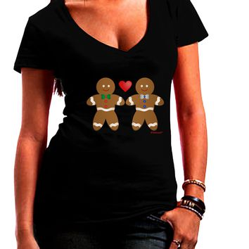 Gingerbread Man Couple Juniors V-Neck Dark T-Shirt by TooLoud