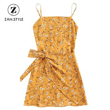 ZAN.STYLE Boho Women Bowknot Cut Out Tiered Floral Mini Dress Halter Backless Hollow Out Zip Up Dress Sweet Sleeveless Dresses