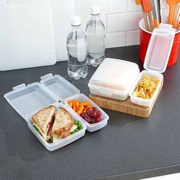 Set of 2 Divided Lunch Containers Compartments Sealed Snaps Leftovers Snacks