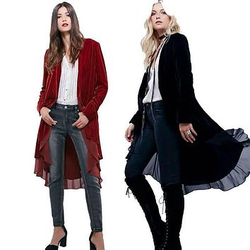 jacket women autumn winter jacket Long sleeves Open stitch asymmetric length velvet with lace hippie style women brand clothing