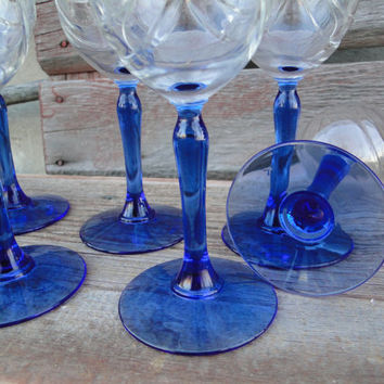 Vintage Lenox blue stem 10 oz wine glass, vintage glassware w/ gold rim, retro crystal toasting glass, wedding shower brunch luncheon glass
