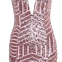 Adriana Geometric Sequin Mini Dress - Light Pink