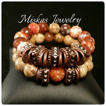 12mm Agate and Picture Jasper Bracelet Set/Stack with Copper Spacers Elegant Beautiful Stylish