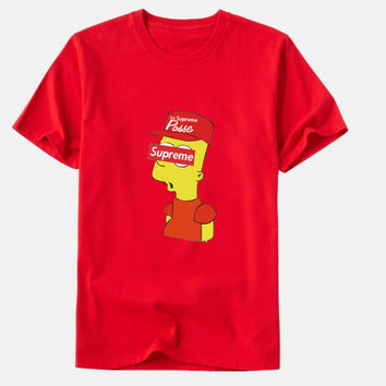 "Fashion "" supreme"" print Creative loose T-shirt top red"