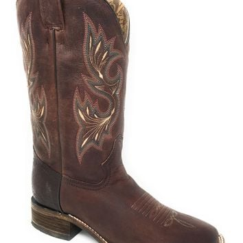 Corral Shedron Embroidery Square Toe Leather Boots