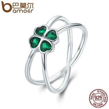 BAMOER Hot Sale 100% 925 Sterling Silver Lucky Green Clover Flower Finger Ring for Women Party Engagement Jewelry SCR196