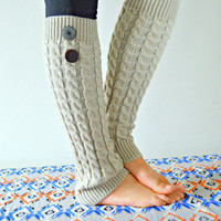 Taupe Leg Warmers, Cable Knit legwarmers