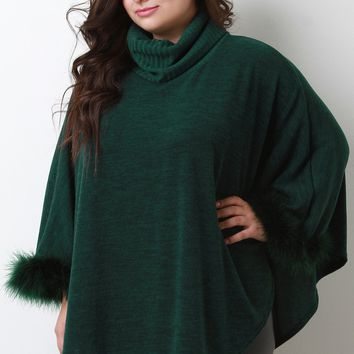 Feather Trim Turtleneck Poncho