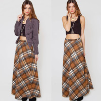 Vintage 70s Long PLAID Skirt Amber and Gray Wool Indie Maxi Skirt