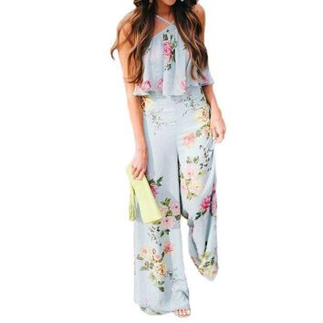 2017 Elegant Boho Floral Print Jumpsuit Women Romper Sexy Halter Backless Ruffles Summer Casual Beach Jumpsuit Long Overalls