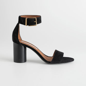 Square Buckle Heeled Sandals - Black - Sandalettes - & Other Stories US