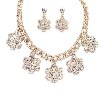 Stylish Hot Sale Rhinestone Floral Earrings Set [4918846468]