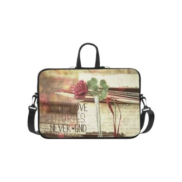 Personalized Laptop Shoulder Bag True Love Stories Never End With Vintage Red Rose Handbags 14 Inch