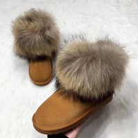 Women Fashion Winter Tassel Suede Snow Real Leather Boots G-ALXY