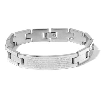 Stainless Steel Lord's Prayer Bracelet (8.50 in)