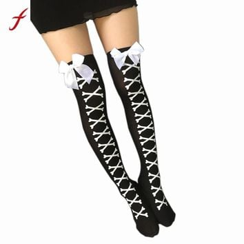 Women Over Knee Thighs Fashion Skull Print Cute Bow Decor Girls Ladies High Stocking Long Stocking