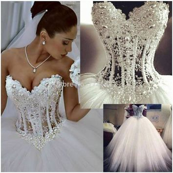 Romantic Princess Lace with Beading Ball Gown Wedding Dresses Bows Crystal Long Bridal Dress Romantic Dazzling Vestidos De Noiva