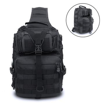 Tactical Molle Crossbody Bag Single Shoulder Hunting Bags Outdoor Camo Messager Chest Pack Waterproof Nylon Hiking Backpack ^