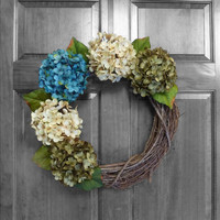 Hydrangea Wreaths - Everyday Wreath - Blue and Green Hydrangeas - Front Door Wreaths - Year Round Wreath - Door Decoration - Exterior Decor