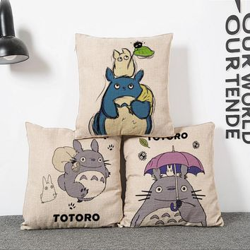 new 45*45cm My Neighbor Totoro creative anime pillowcase office Wedding bedding couch Vintage pillow case/cover home decorative