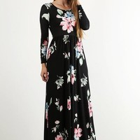 Long Sleeve Floral Maxi Dress - Black