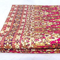 Gold and crimson Cotton Fabric with batik oriental ornament, reds, fabric for clothing, home decor, handbags