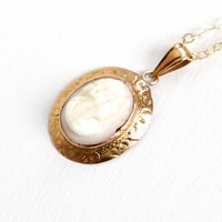 Antique 10k Rosy Yellow Gold Carved Shell Cameo Pendant Necklace - 1920s 1930s Floral Filigree Fine Jewelry
