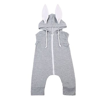 Babies Rabbit Ear Hooded Romper Kids Baby Girls Clothes Cute Toddler Infant  Lovely Bunny Zipper Line Sleeveless Clothing