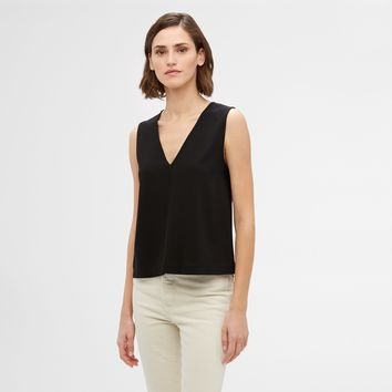 Crepe V-Neck Shell - Black