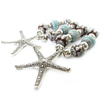 Starfish Tiebacks, Curtain Tiebacks, Shabby Chic Tiebacks, Drapery Tiebacks, Beach Decor, Beaded Tiebacks, Nautical Tiebacks, Ocean Tiebacks