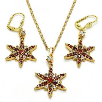 Gold Layered 10.236.0015 Necklace and Earring, Flower Design, with White and Garnet Cubic Zirconia, Polished Finish, Golden Tone