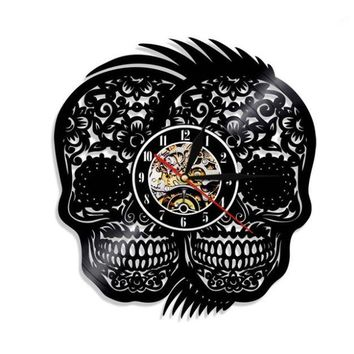 Two Skull Decorative Vinyl Record Wall Clock