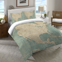 North America Map Duvet Cover