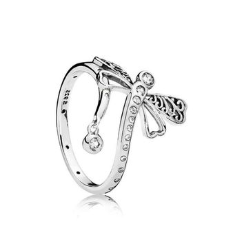 925 Sterling Silver Ring Charm Cute Big Dragonfly Crystal Wedding Ring For Women Jewelry
