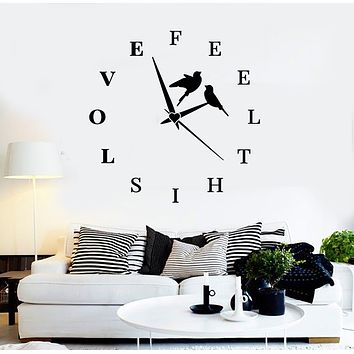 Vinyl Wall Decal Lettering Feel This Love Birds Clock Home Room Stickers Mural (g2704)
