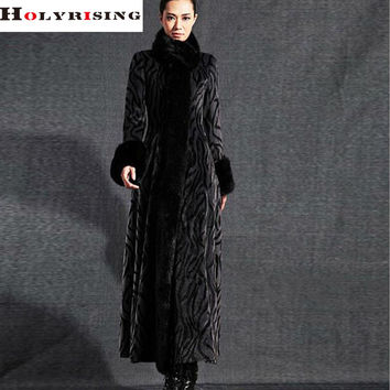 LUXURY New  Wool and Faux Rex Rabbit Fur women winter Fur coat European designer fashion natural faux fur long coats