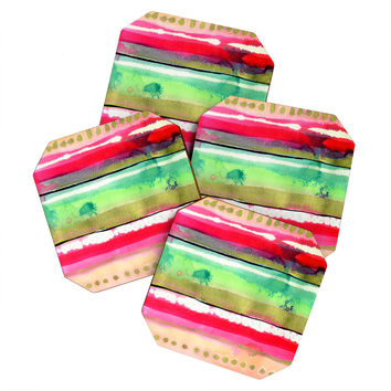CayenaBlanca Ink Stripes Coaster Set