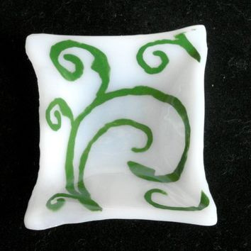 Small Fused glass dish - handpainted vine motif Fused Glass- candle holder - Decorative Bowl- Dresser Caddy - organic square - white - green
