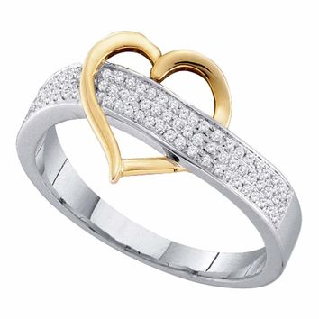 Sterling Silver Two-tone Womens Round Diamond Heart Fashion Band Ring 1/6 Cttw