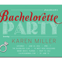 Bachelorette Party Invitation Modern Diamond Ring Aqua Red Girls Night Out Invitation DIY Printable or Printed - Karen Style